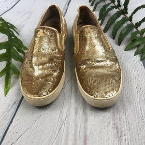 Michael Kors Keaton Gold Flatform Sneakers 7M